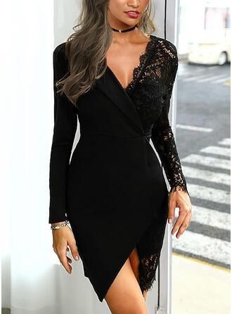 Encaje/Sólido Manga Larga Cubierta Sobre la Rodilla Pequeños Negros/Elegante Vestidos