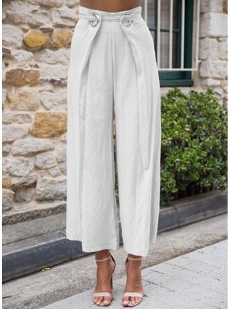 Pockets Shirred Plus Size Cropped Elegant Sexy Pants