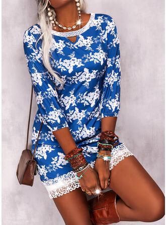 Imprimeu/Floral Dantel Măneci Trei Sferturi Shift Elbiseleri Deasupra Genunchiului gündelik Tunică Elbiseler