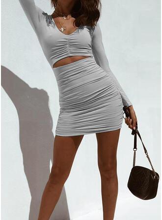 Solid Mâneci Lungi Manşon Deasupra Genunchiului gündelik Elbiseler