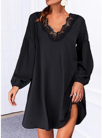 Solid Dantel Mâneci Lungi Shift Elbiseleri Deasupra Genunchiului Negre/gündelik Tunică Elbiseler