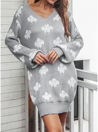 Imprimeu Mâneci Lungi gündelik Elbiseler