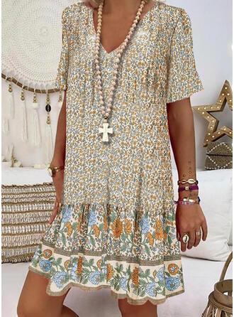 Print/Floral Short Sleeves Shift Knee Length Casual/Vacation T-shirt Dresses
