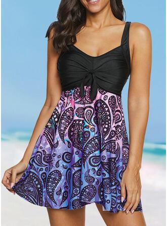 Print Strap V-Neck Fresh Plus Size Swimdresses Swimsuits