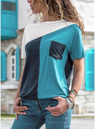 Цветной блок Шею С коротким рукавом Повседневная Вязание Блузы