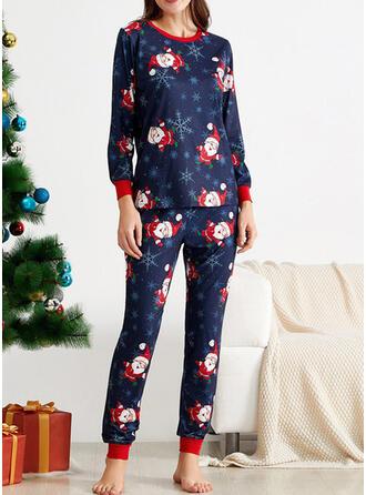 ポリエステル 長袖 クリスマス パジャマセット