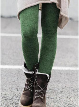 Sólido Shirred Tamanho grande Elegante Sexy Calças Leggings