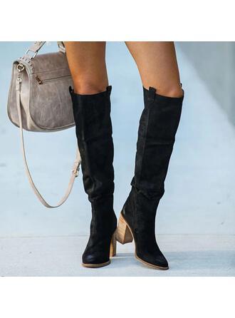 Mulheres PU Salto robusto Botas Bota no joelho com Ruched Cor sólida sapatos