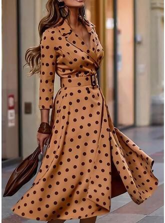 Lunares Mangas 3/4 Acampanado Patinador Elegante Midi Vestidos
