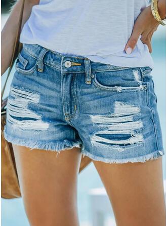 Pevný džínovina Nad kolenem Neformální Plus velikost hlubokým výstřihem patch Bandáž Kalhoty Šortky Denim & Džíny