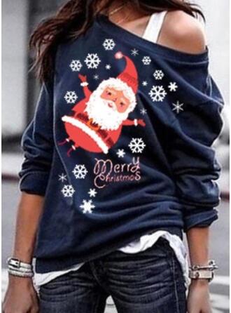 Print One-Shoulder Long Sleeves Casual Christmas T-shirts