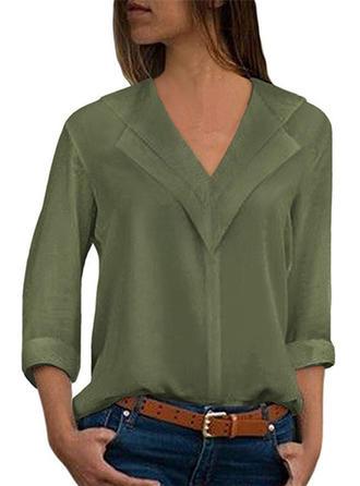 твердый V шеи Длинные рукова Повседневная элегантный Вязание Блузы