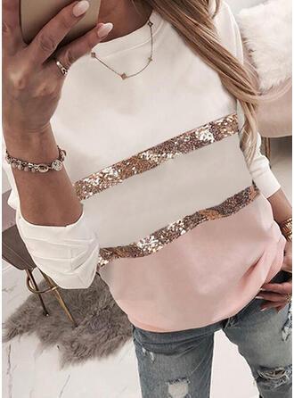 Color Block Sequins Round Neck Long Sleeves Sweatshirt