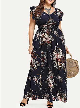 Pluss størrelse Blomstrete Trykk Kortermer A-line kjole Maxi Avslappet Elegant Kle