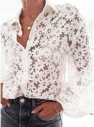 Floral Lapel Long Sleeves Button Up Casual Elegant Shirt Blouses Sheer Blouses