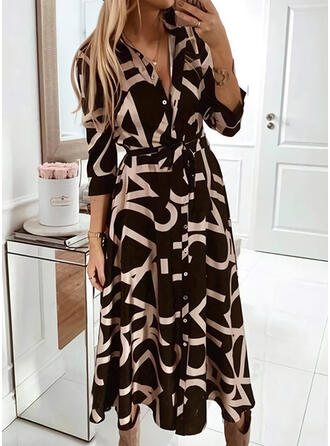Print 3/4 Sleeves A-line Shirt/Skater Casual Midi Dresses