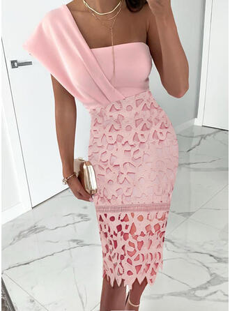 Lace/Solid Short Sleeves Bodycon Knee Length Sexy/Party Pencil Dresses