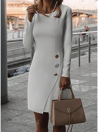Solid Mâneci Lungi Manşon Până la Genunchi Casual/Elegant Elbiseler