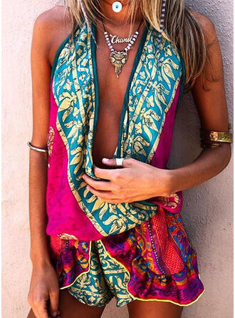 Print V-Neck Sleeveless Casual Boho Vacation Romper