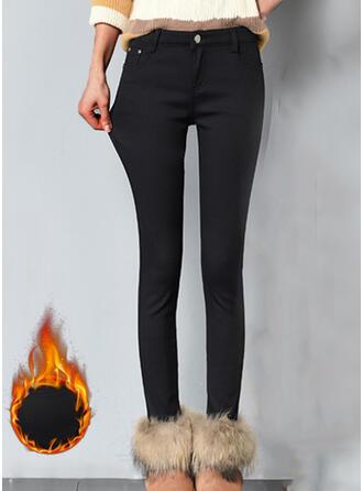 Jednolity Duży rozmiar Elegancki Seksowny Spodnie