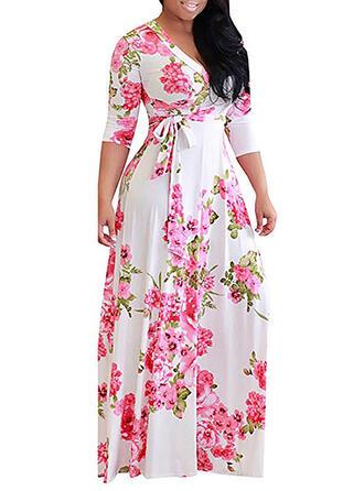Plus velikost Květiny Tisk 3/4 rukávy Do tvaru A Maxi Neformální Dovolená Šaty