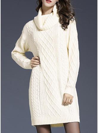 Solid Tricot Cablu Helancă Rochie pulover