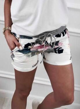 Print Above Knee Casual Drawstring Pants Shorts