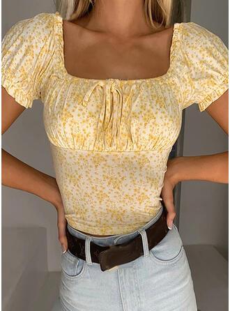 Tisk/Květinový Krátké rukávy Strâmt Sexy/Neformální Bluze Rochii
