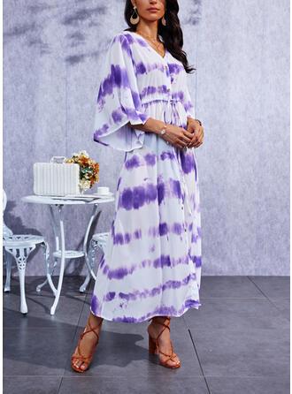 bağlama boyası Mâneci la Jumătate Bir Çizgi Patenci gündelik Maxi Elbiseler