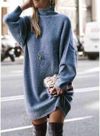 Sólido Gola Alta Casual Longo Camisola-vestido