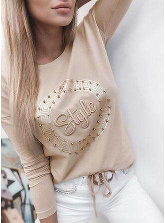 Wysadzana perełkami Figura Nadruk Okrągły dekolt Długie rękawy T-shirty