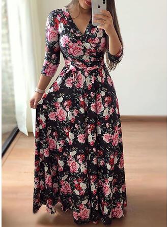 Extra stor storlek Blommig Print 3/4 ärmar A-linjeklänning Maxi Fritids Elegant Klä