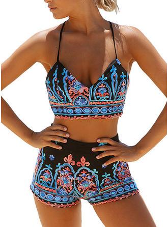String Tropical Print Strap Sexy Bikinis Swimsuits