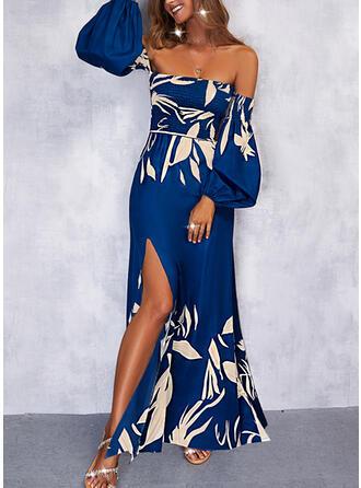 Imprimeu Mâneci Lungi Bir Çizgi Patenci Tatil Maxi Elbiseler