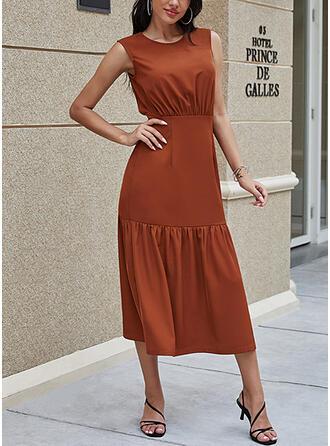 Jednolita Bez rękawów Pokrowiec Casual Midi Sukienki