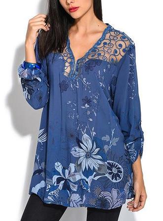 Распечатать V шеи Длинные рукова Повседневная элегантный Блузы