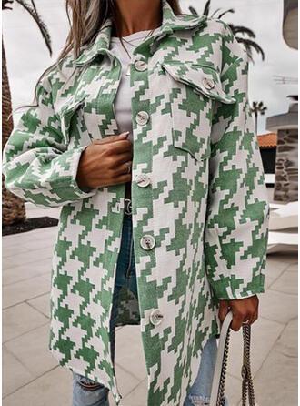 Mâneci Lungi Imprimeu Ceketler