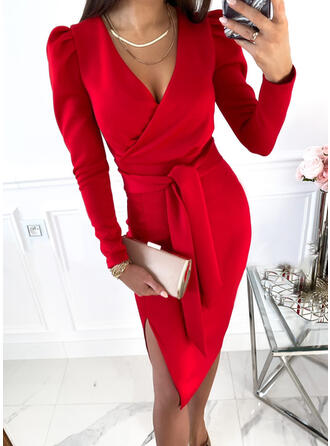 Solid Mâneci Lungi Puff manşonuna Manşon Până la Genunchi Zarif/Ofis / İş Wrap Elbiseler