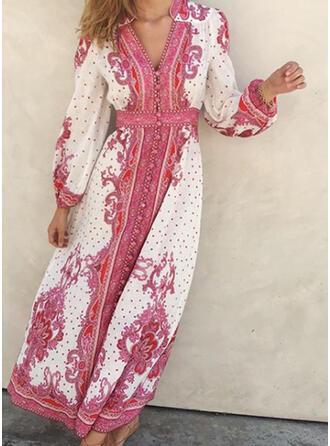 Print/Floral/PolkaDot Long Sleeves A-line Skater Casual/Boho Maxi Dresses