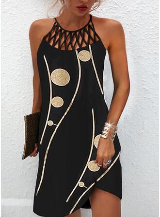 Impresión Sin mangas Vestidos sueltos Sobre la Rodilla Elegante Vestidos