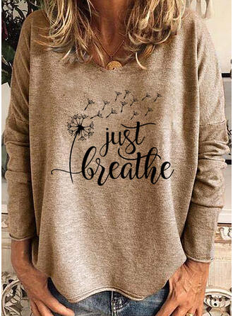 Print Figure Dandelion Round Neck Long Sleeves Casual T-shirts