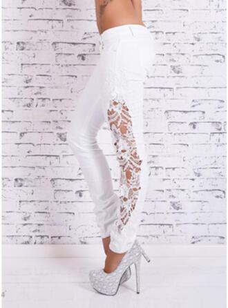 Lace Patchwork Plus Size Long Elegant Sexy Denim & Jeans