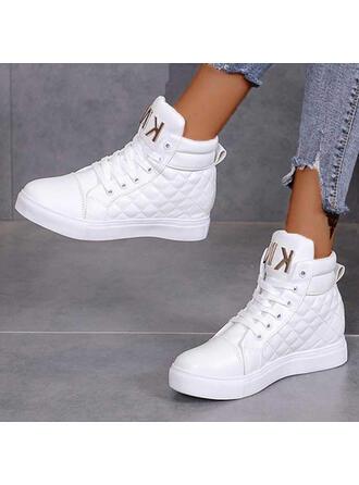Bayanlar PU Düz topuk Ayak bileği çizmeler Yuvarlak ayak Ile Bağcıklı ayakkabı Katı Renk ayakkabı