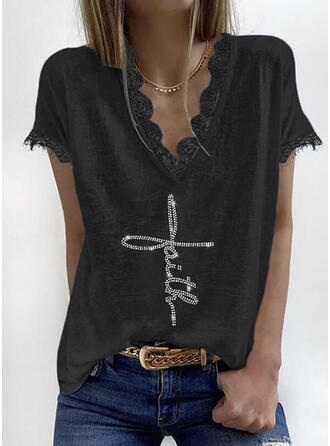 Lace Sequins Figure V-Neck Short Sleeves Casual Blouses