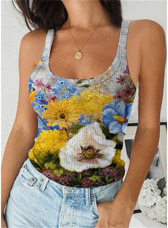 Kwiatowy Nadruk Pasek Bez Rękawów Koszulki bez rękawów