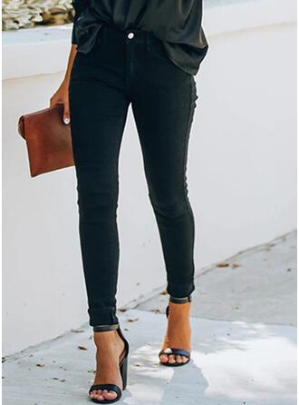 Solid shirred Plus størrelse Lang Elegant Sexet Skinny Denim & Jeans