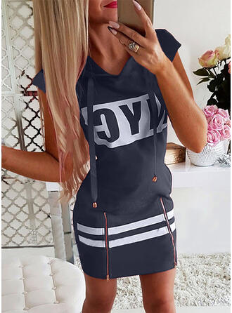 Print/Letter Short Sleeves Cap Sleeve Sheath Above Knee Casual Dresses