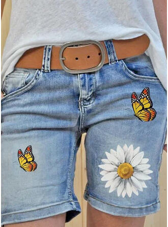 Floral Imprimeu kelebek kot Diz üstü gündelik Büyük beden Pocket Pantolonlar Şort Kot pantolon