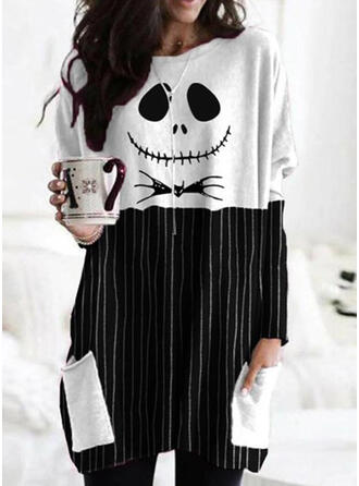 Inmprimé Striped Halloween Col rond Manches longues Sweat-shirts