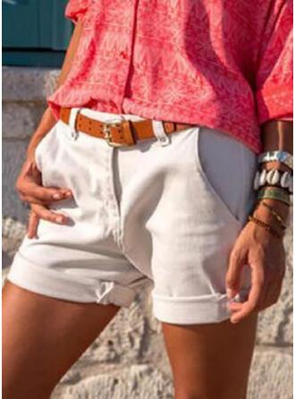 Solid Plus Size Plain Vintage Shorts